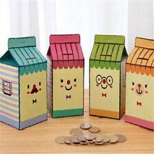 FD1411 DIY Coin Money Saving Box Store Milk Box Style Money Piggy Bank Random X1