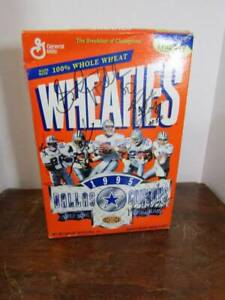 1995 Dallas Cowboys Super Bowl Champs Signed Wheaties Whole Wheat Cereal Box