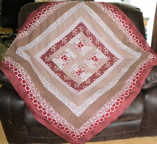 "QUILT TOP-Mini Courthouses in Burgundy/Wine&Off White,48""Sq., HANDCRAFTED in USA"