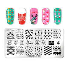 NICOLE DIARY Nail Stamp Template Rectangle Nail Art Image Print Stamping Plate