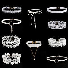 10pcs Set White Flower Lace Velvet Choker Necklace Chain Collar Punk  Jewelry