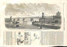 Pont de Boom sur le Rupel Belgique construit par Pauwels et Tossyn GRAVURE 1853