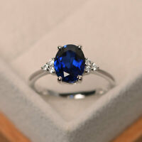 2.15 Ct Oval Diamond Sapphire Engagement Ring 14K Solid White Gold Rings Size