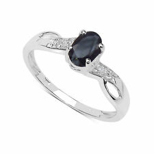 9 Carat Solitaire White Gold Oval Fine Gemstone Rings