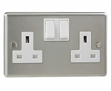British General Stainless Steel Double Switched 2 Gang Socket Double Pole 13 Amp