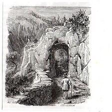 Stampa antica DONNAS la Porta di Annibale Valle d' Aosta 1885 Old print