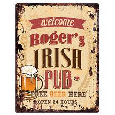 PMBP0050 ROGER'S IRISH PUB Rustic tin Sign PUB Bar Man cave Decor Gift