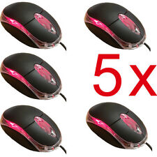 WIRED USB OPTICAL MOUSE FOR PC LAPTOP COMPUTER SCROLL WHEEL BLACK Job Lot 5 pcs