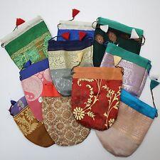 5 pz. SACCHETTO PER ACCESSORI regalo Sari indiani gioielli broccato / m