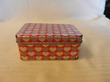 Small Rectangular Decorative Metal Tin Box with Pink and Silver Hearts