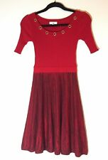 4f240eafe69 Candies Juniors Womens XS Fit and Flare Short Sleeve Sweater Dress Red Black