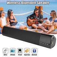 Wireless Bluetooth Soundbar HiFi Stereo Speaker Sound Bar Subwoofer 3.5mm AUX FM