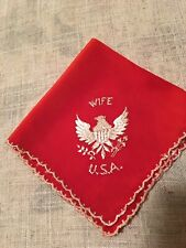 """Vintage Red Silky """"Wife Usa� Eagle Hankie Wwii"""