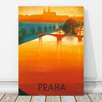 "Vintage Illustrated Travel CANVAS PRINT - PRAGUE River Sunset 24x18"" - Praha"
