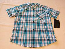 Boy's kids youth Hurley 6 881859 B7K Blue Lagoon plaid button up shirt boys NWT