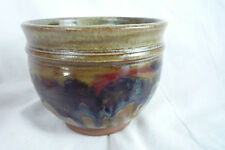 VTG Studio Pottery Ceramic Footed Tea Bowl Small Planter Drip Glaze -Signed