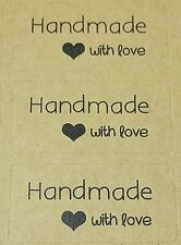 120x Hand made with Love Label Sticker Seal Cake Woodwork Favour Craft Gift Bulk