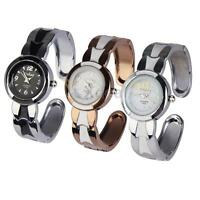 Women Fashion Crystal Round Quartz Analog Wrist Watch Cuff Bangle Bracelet Gift