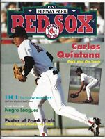 1993 Boston Red Sox vs Cleveland Indians Official Scorebook Magazine