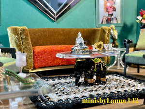 1:12 Dollhouse miniature Art Deco sofa Gold / Orange velvet