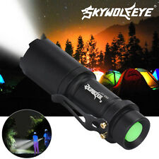 800 Lumens 3 Mode LED Flashlight Torch Lamp Light Outdoor Tool AA/14500 Black GH