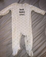 "BABY/TODDLER BOYS/GIRLS *NEXT* ""BeSt BaBy EvEr"" SLEEPSUIT/ALL IN ONE 12-18 Grey"