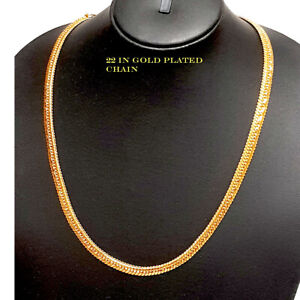 Kapa GOLD CHOKER Chain Necklace gold plated Indian real looking jewelry 22 in