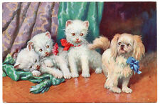 JAPANESE CHIN SPANIEL PUP AND  THREE WHITE KITTENS  LOVELY OLD DOG ART POSTCARD