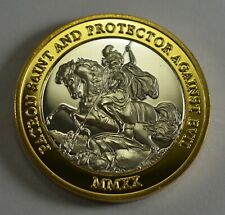 Dual Metal ST. GEORGE & THE DRAGON Silver & 24ct Gold Commemorative in Capsule