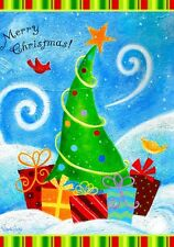 "Whimsical Christmas Tree Flag, Winter Joy. 28""X 40"". Multi-Color. 100% polyester"