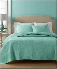 Beachy Color! Martha Stewart Atlantic Palm Mint Chip Queen Size Quilt & Sham Set