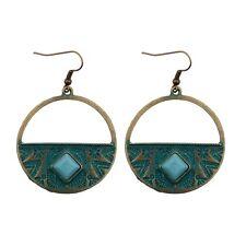 Faux Turquoise Round Earrings Gifts Vintage Women's Gothic Bohemia Boho Style