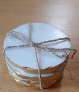 Nikita by Niki Solid White Grey Edge Marble Drink Coasters Gold Gilded Set