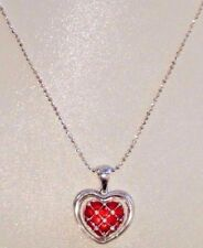 REVERSIBLE Avon Necklace - Silver Tone - Clear / Red CZ Heart Pendant - 19 inch