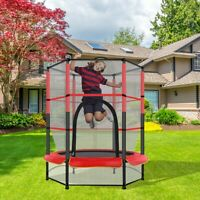 55'' Kids Trampoline With Enclosure Net Jumping Mat And Spring Cover Padding