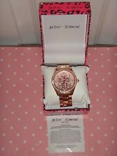 BETSEY JOHNSON Women's Rose Gold Tone S/Steel Watch OWL Dial 40mm Crystals +BOX