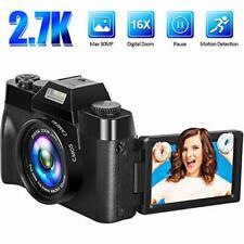 Digital Camera Vlogging Video 2.7K 30MP 16x Zoom Black