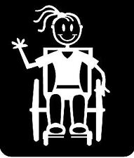 MY STICK FIGURE FAMILY Car Window Stickers TG11 Teen Girl Wheelchair Assisted