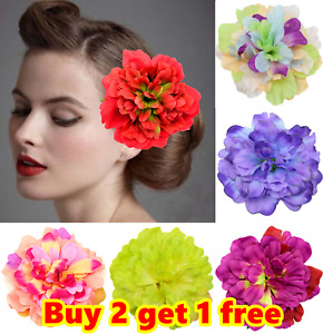 Boho Ombre Large Peony Flower Hair Clip Bridal Hairpin Wedding Bridesmaid Prom