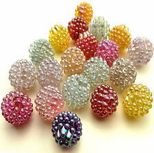 20 AB FINISH PLASTIC BERRY BEADS 15mm approx RANDOM COLOUR MIX Beading Crafts