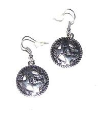 EARRINGS Wires Western Style Antiqued Silvertone Cross & TEXAS CONCHO DANGLES