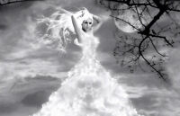 Framed Print - Beautiful Woman in the Clouds (Picture Poster Art Gothic)