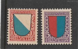 1920 Pro Juventute 10 + 15c ** u/m (suisse schweiz) Mi 154/5 S.G J15+16 cat £30