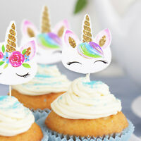 24pc Unicorn Cupcake Toppers Edible Wafer Paper Cake Topper Birthday Party Decor