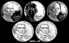 2020 P D S W W Jefferson Nickel Proofs and Uncirculated 5 Coin Set