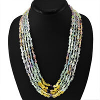 TOP CLASS 405.00 CTS NATURAL 5 STRAND RICH MULTICOLOR FLOURITE BEADS NECKLACE