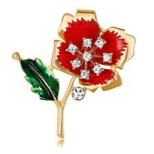 Gold Red Green Poppies Gold Poppy Flower Women Lady Brooch Coat  Pin BR430