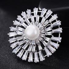 Chic Women Bridal Rhinestone Pearl Dandelion Flower Silver Brooches Bouquet Pins