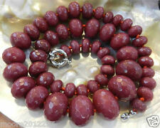 charming 10-18mm Red Ruby Faceted Gems Roundel Beads Necklace 18""