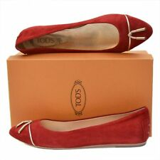TOD'S New sz 41 - 11 Authentic Designer Womens Ballerina Ballet Flats Shoes Red